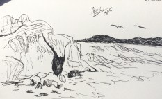 Sketch sitting at Sutro Baths
