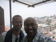 On the balcony of Hotel Dekeling