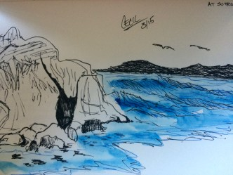 a sketch of what I'm looking at sitting at Sutro Baths