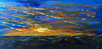 """Painting #2: 15""""x30"""" Acrylic Painting inspired by a Sunset off the Pacific Coast Highway"""