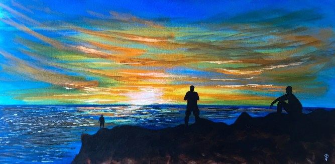 """Painting #1: 15""""x30"""" Acrylic Painting inspired by a Sunset off the Pacific Coast Highway"""