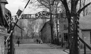 """Acceso a Auschwitz con el lema """"El trabajo os hará libres"""""""