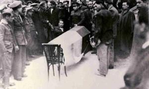 El entierro de Antonio Machado en Colliure, Francia.