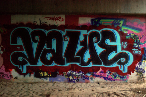 """Graffiti on a wall spelling out the word """"Value"""""""