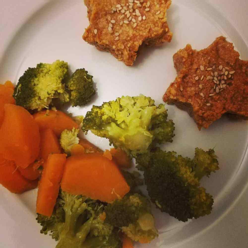 galette de soja jaune , brocolis, patate douce