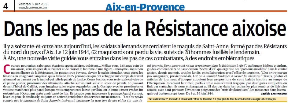 Sur les pas des Résistants, article parru dans La Provence du 12 juin