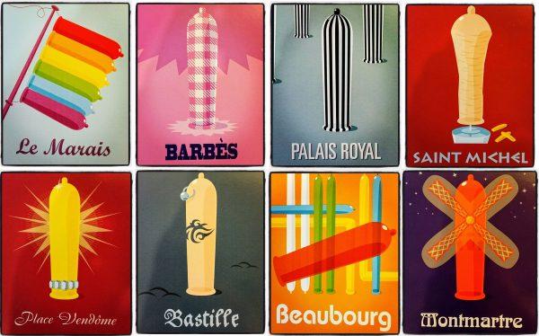 Paris condom postcards