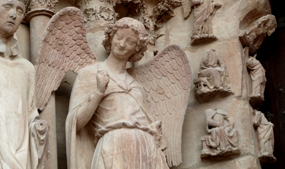 Smiling angel statue Reims Cathedral