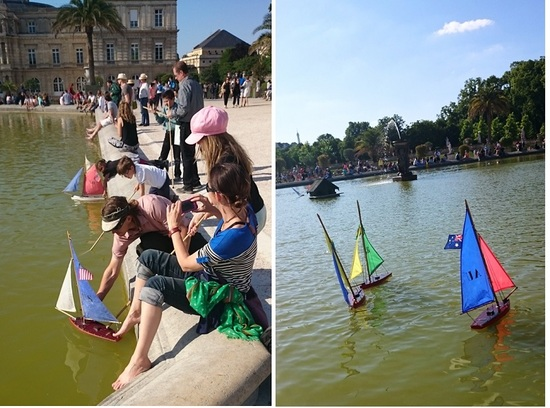 kids with boats in Luxembourg Gardens