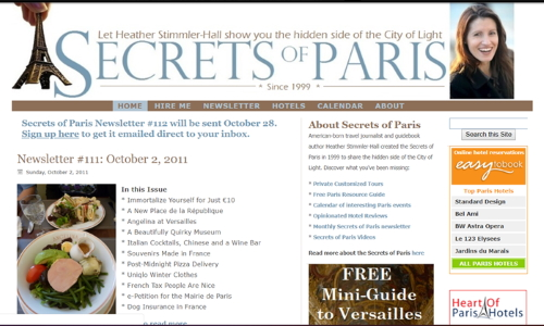 The 2011 version of the Secrets of Paris website