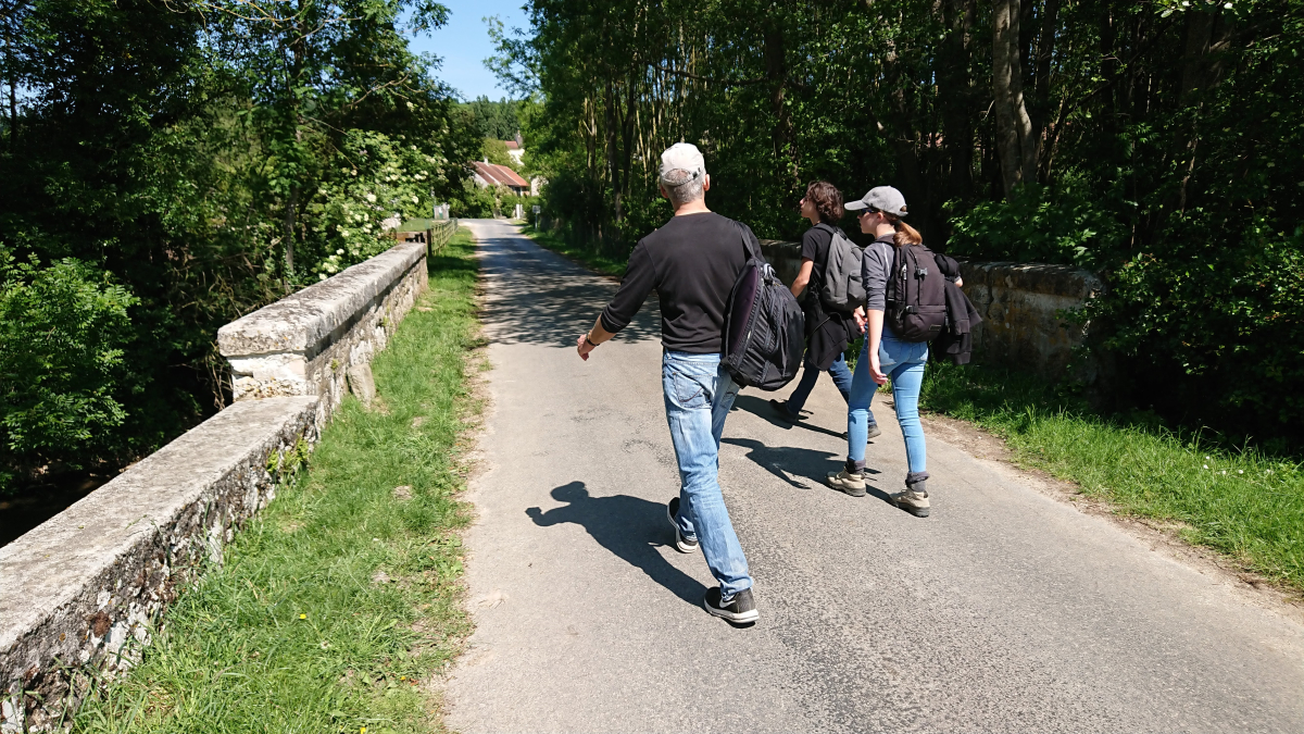 Parisians hiking in countryside