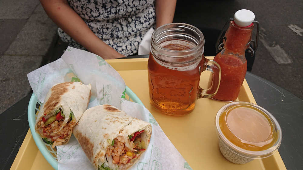 burritos and iced tea