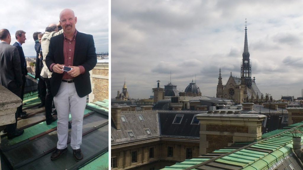 Mark Sullivan on the roof of the Police Judiciaire.