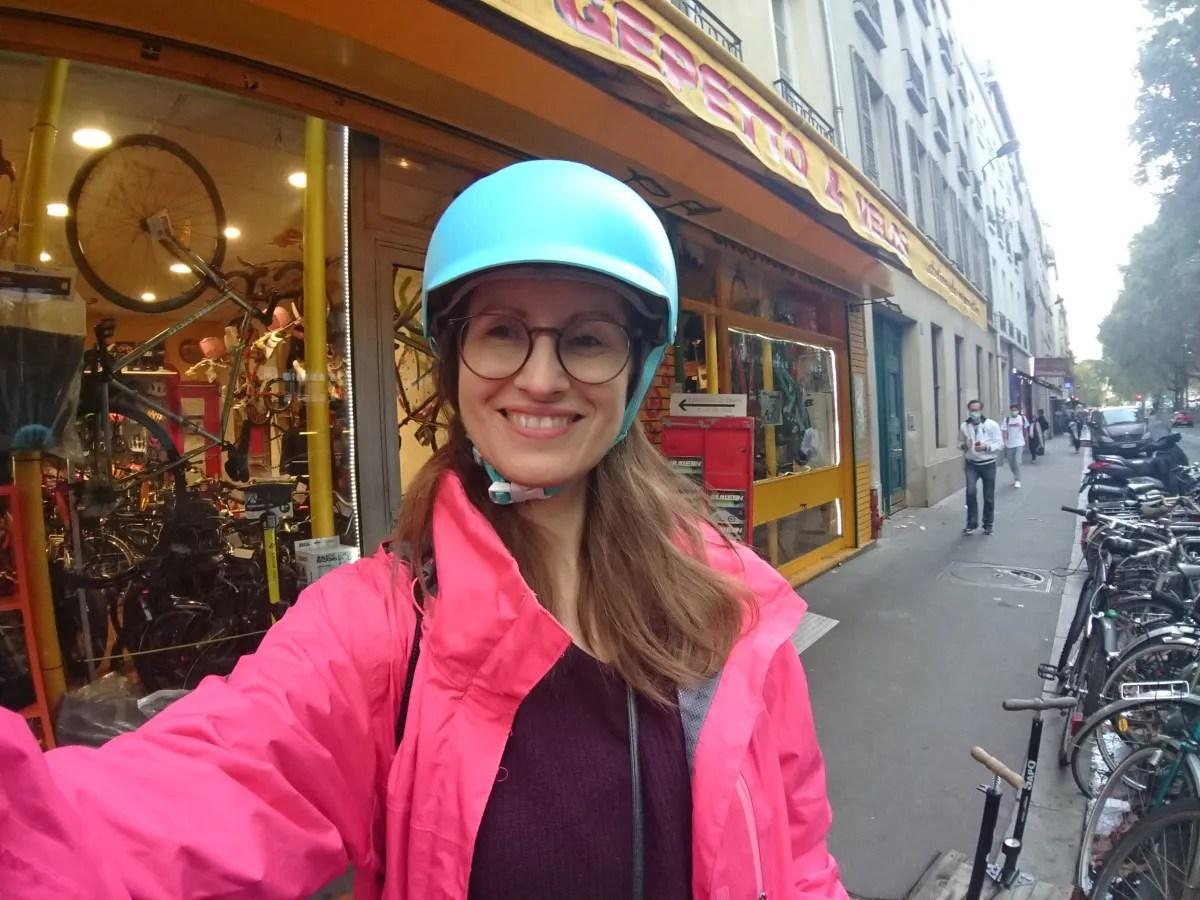Heather in bike helmet