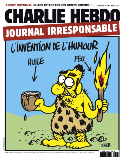 """Charlie Hebdo cover """"Invention of Humor"""""""