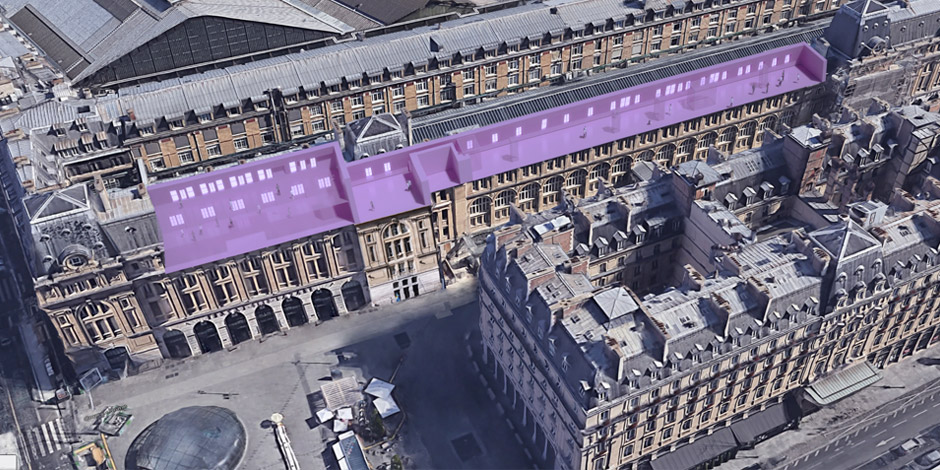Aerial view of museum at Gare st Lazare