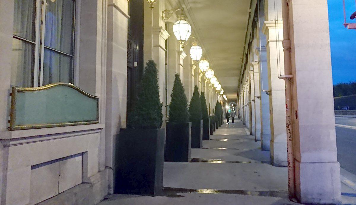 Hotel Meurice under the Rue de Rivoli arcades