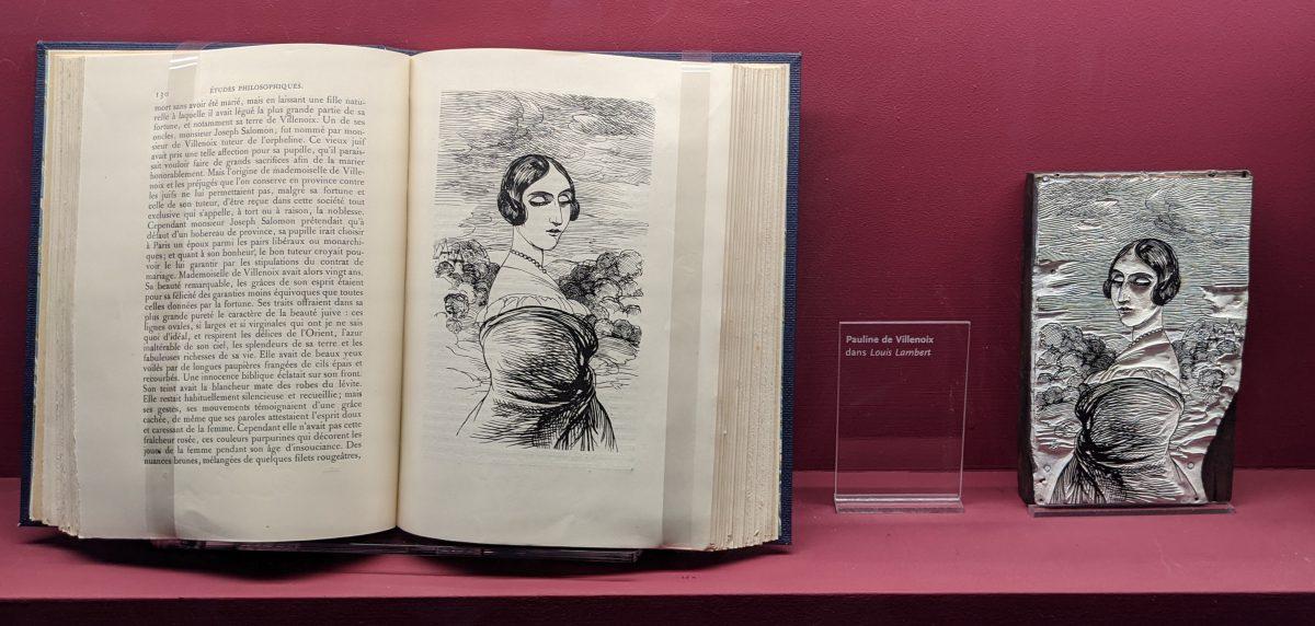 close up of woodblock and book printed