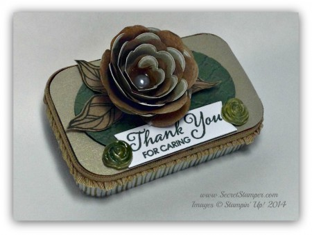 Upcycled, Altoid Tin, Lots of Thanks, Spiral Flower die, Peaceful Petals