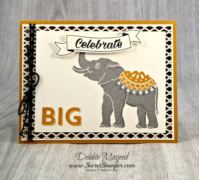 Happy Birthday Bright Card Using Lucky Elephant from Stampin' Up!