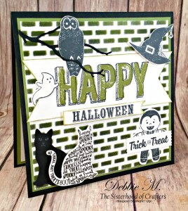 By Debbie Mageed, Spooky Cat, Happy Celebration, Cookie Cutter Halloween, Paper Pumpkin, brick stencil, Stampin Up