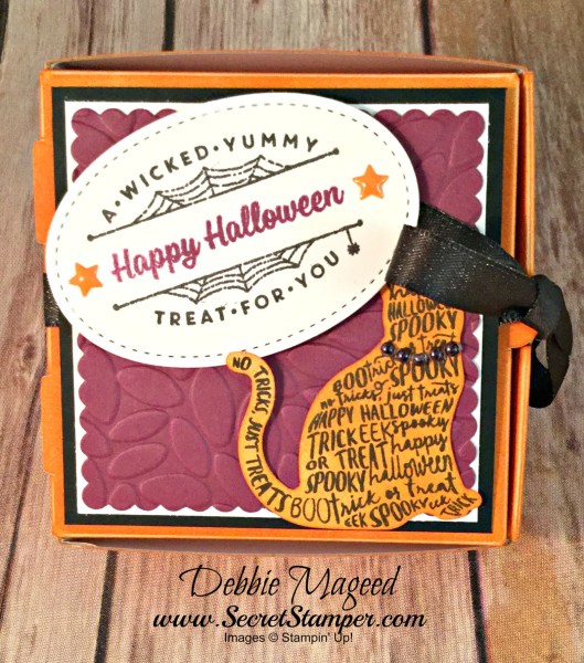 By Debbie Mageed, Spooky Cat, Halloween, Mini Pizza Box, Stampin Up