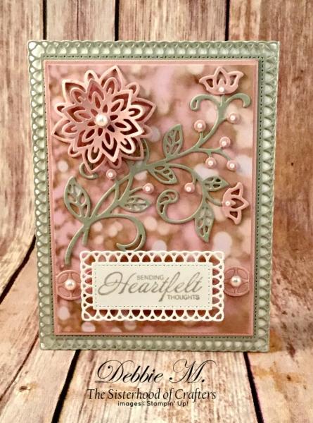 By Debbie Mageed, Heartfelt Blooms, Flourish Phrases, Flourish Thinlits, Friendship, Sympathy, Stampin Up