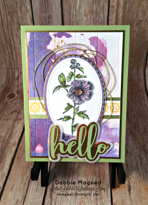 Hello Friend, I Have a Fabulous Flora Card with Background Bits for Retro Rubber