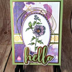 Fun Brusho Watercolor Floral Card featuring #FabulousFlora, #BackgroundBits, #HelloFriend, #BrushoInk, #AllOccasion, #SecretsToStamping, #StampinUp