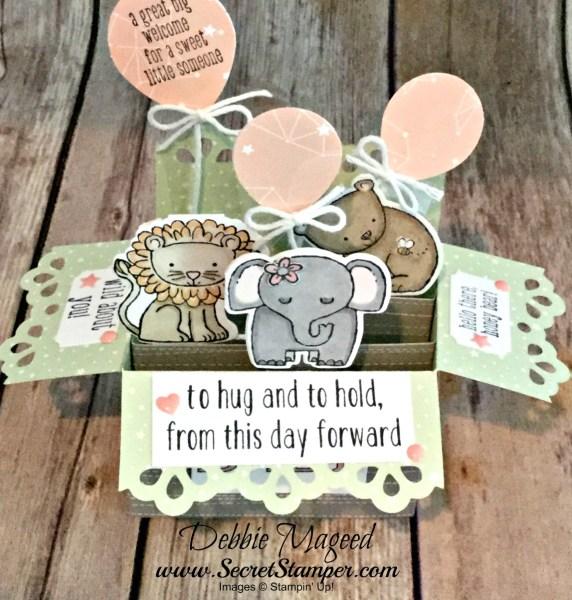 Adorable Baby Card Featuring #ALittleWild, #BabyWe'veGrown, #BabyBear, #CardInABox, #Baby, #SecretsToStamping, #StampinUp