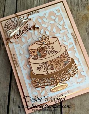 Elegant Card Featuring #CakeSoiree, #SweetCakeFramelits, #DelightfullyDetailedLaserCut, #BeautifulBouquet, #Wedding, #Birthday, #SecretstoStamping, #StampinUp