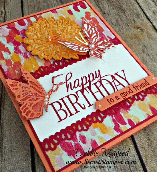 Cheerful Birthday Card Featuring #HappyBirthdayEveryone, #StitchedAllAround, #Birthday, #OhSoSucculent, #SecretsToStamping, #StampinUp