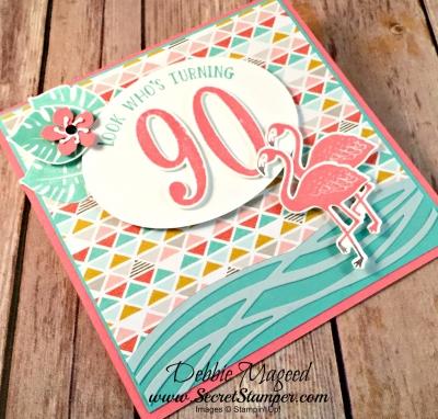 Tropical Birthday Card Featuring #PopofParadise, #NumberofYears, #BigOnBirthdays, #Birthday, #SecretsToStamping, #StampinUp