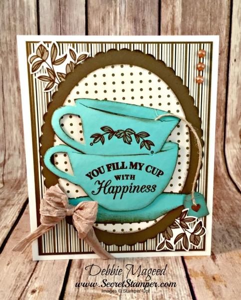 Lovely Vintage Card Featuring #TimeForTea, #AllOccasion, #MochaMorning, #SecretsToStamping, #StampinUpp