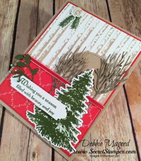 Holiday Card Featuring #WinterWoods, #StillNight, #Christmas, #Holiday, #SecretsToStamping, #StampinUp