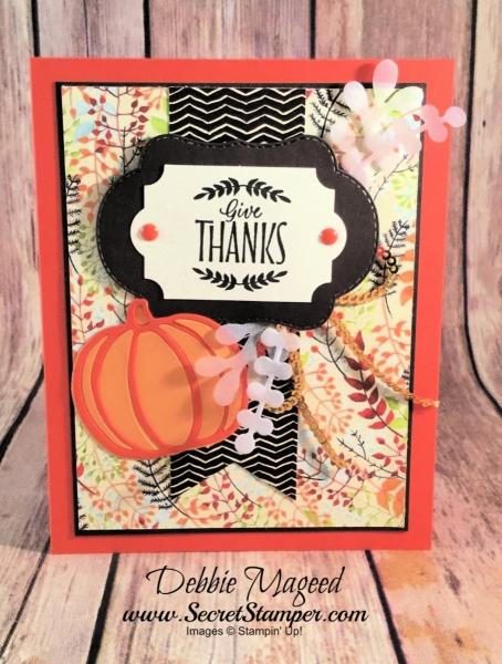 Thanksgiving Card Featuring #LabelsToLove, #PatternedPumpkinsThinlits, #StitchedSeasons, #Thanksgiving, #Holiday, #SecretsToStamping, #StampinUp