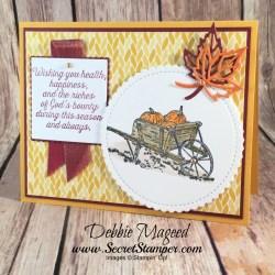 Thanksgiving Card Featuring #PleasantPheasants, #StitchedSeasons, #Thanksgiving, #SecretsToStamping, #StampinUp