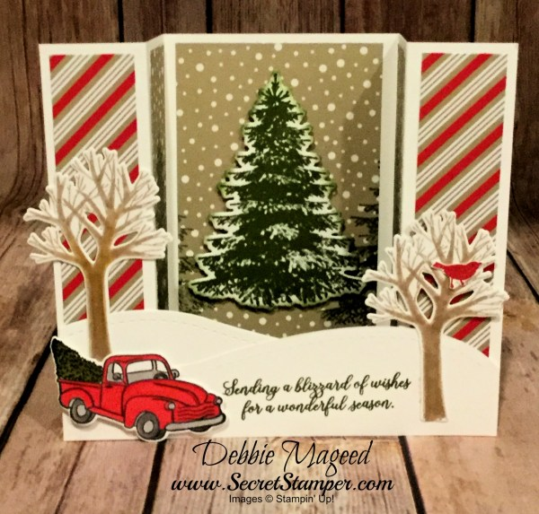 U Fun Fold Holiday Card Featuring #FarmhouseChristmas, #WinterWoods, #SnowIsGlistening, #UFoldCard, #Holiday, #Christmas, #SecretsToStamping, #StampinUp