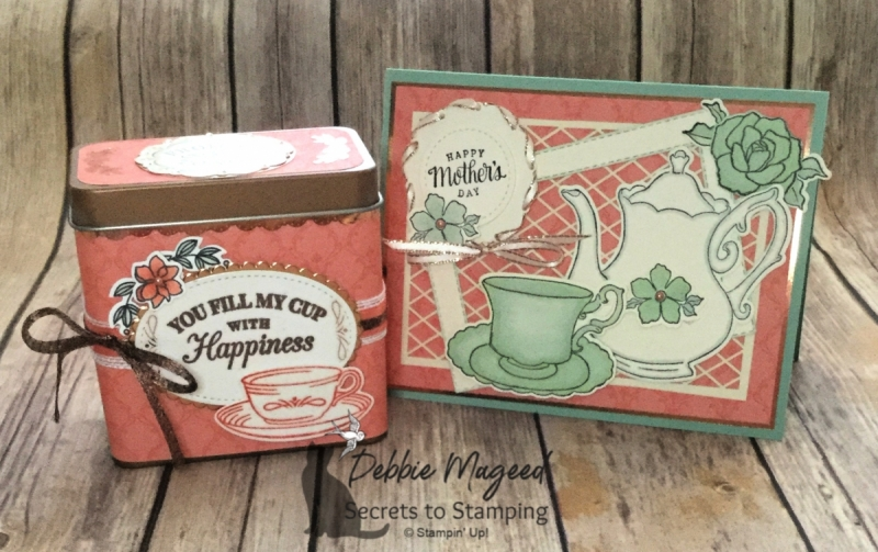 Mother's Day Card and Gift Box Featuring Time for Tea and Tea Together Stamp Sets by Stampin' Up!
