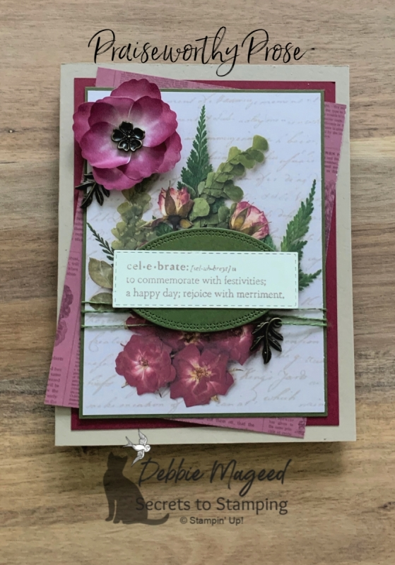 Celebration card Featuring Praiseworthy Prose by Stampin' Up!