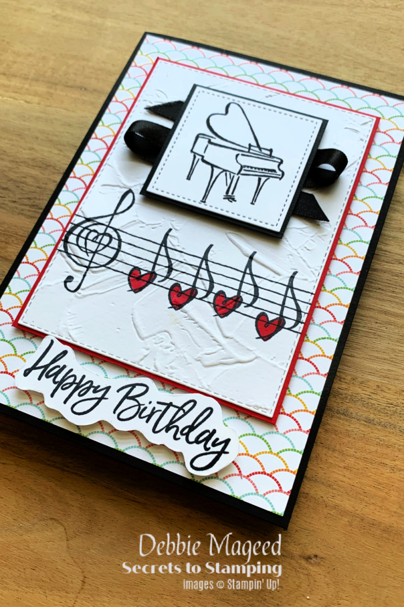 Music From The Heart Birthday Card for Retro Rubber Challenge