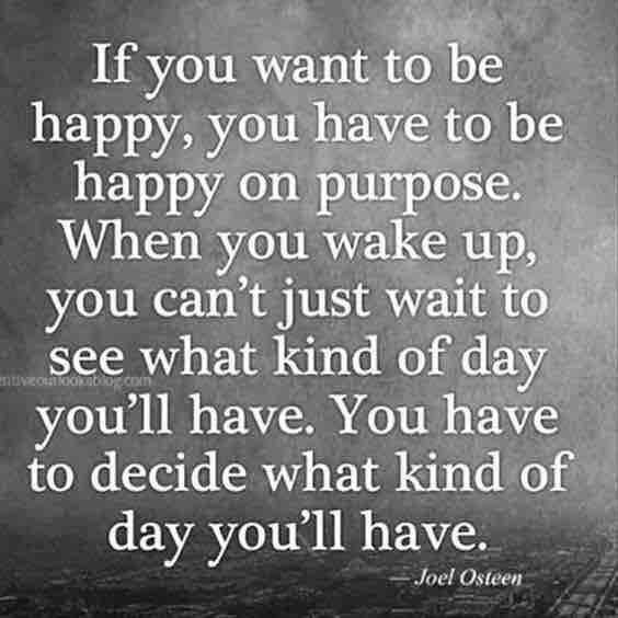 If you want to be happy you have to be happy on purpose
