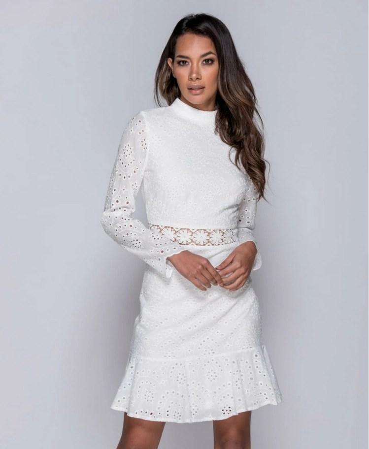 7d0e6c924e Strona główna   Sukienki   Mini   Lienne Sukienka Biała z Koronki