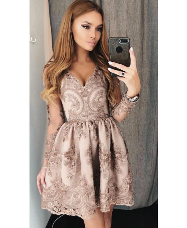 10fd7bcb8f Strona główna   Sukienki   Glam   Avril Sukienka Rozkloszowana Cappuccino z  Koronki
