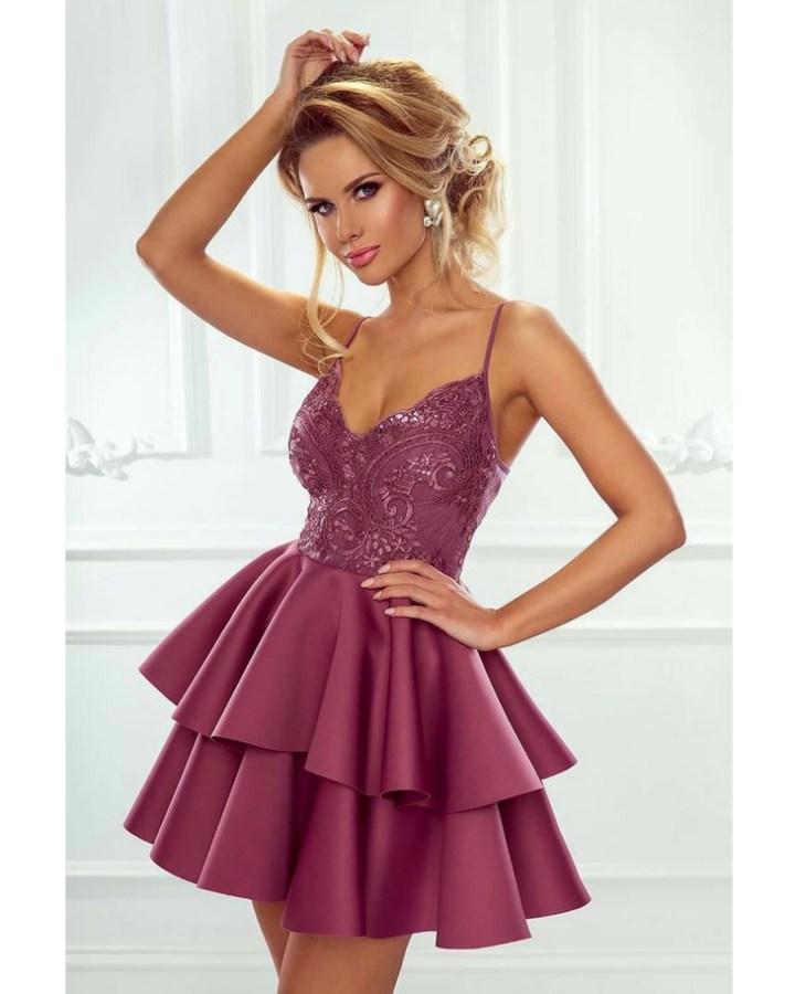 b40229cf8d Sanibel Sukienka Śliwkowa Dwie Falbany na Ramiączkach