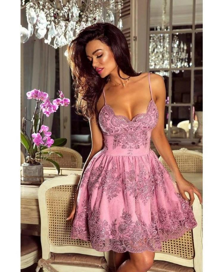 62ded7c72dbe75 Retica Sukienka Koronkowa Pudrowy Róż na Ramiączkach - Secret Wish ...
