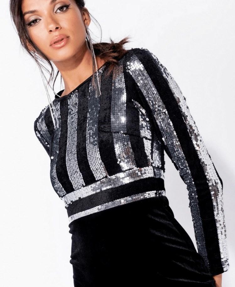 e2318fc3dc Strona główna   Sukienki   Glam   Bellete Sukienka Czarna Koktajlowa w  Srebrne Cekiny Midi