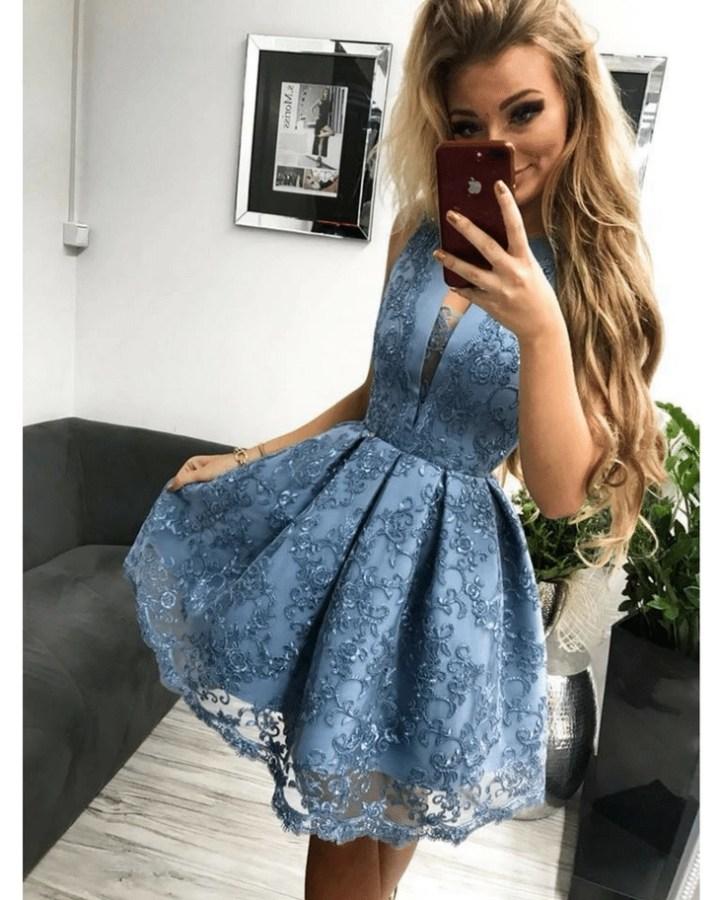2fdb5030b9 Serin Sukienka Koronkowa Rozkloszowana Błękitna Mini