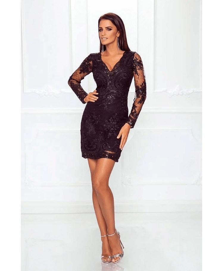 ecf2ac9aea Ashanti Sukienka Czarna z Koronki z Długim Rękawem