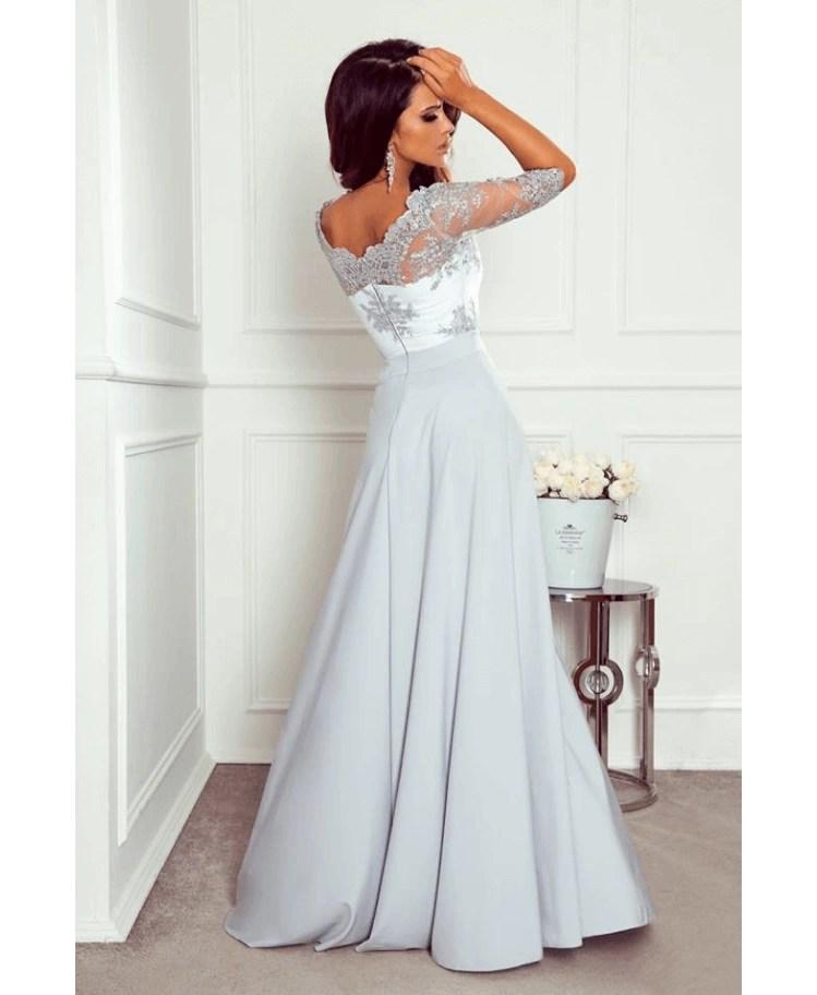 854dfaa853 Strona główna   Sukienki   Glam   Lalus Sukienka Koronkowa Wizytowa Szara  Maxi z Długim Rękawem